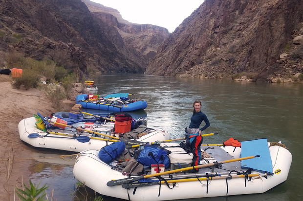 Courtney on her grand canyon gear boat