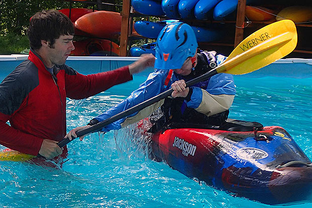 pool roll session whitewater kayak course at wet planet