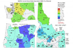 pnw snotel snowpack map for rafting river basins