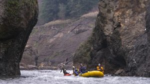 Todd Collins and Jaco Klinkenberg paddle the White Salmon River Narrows