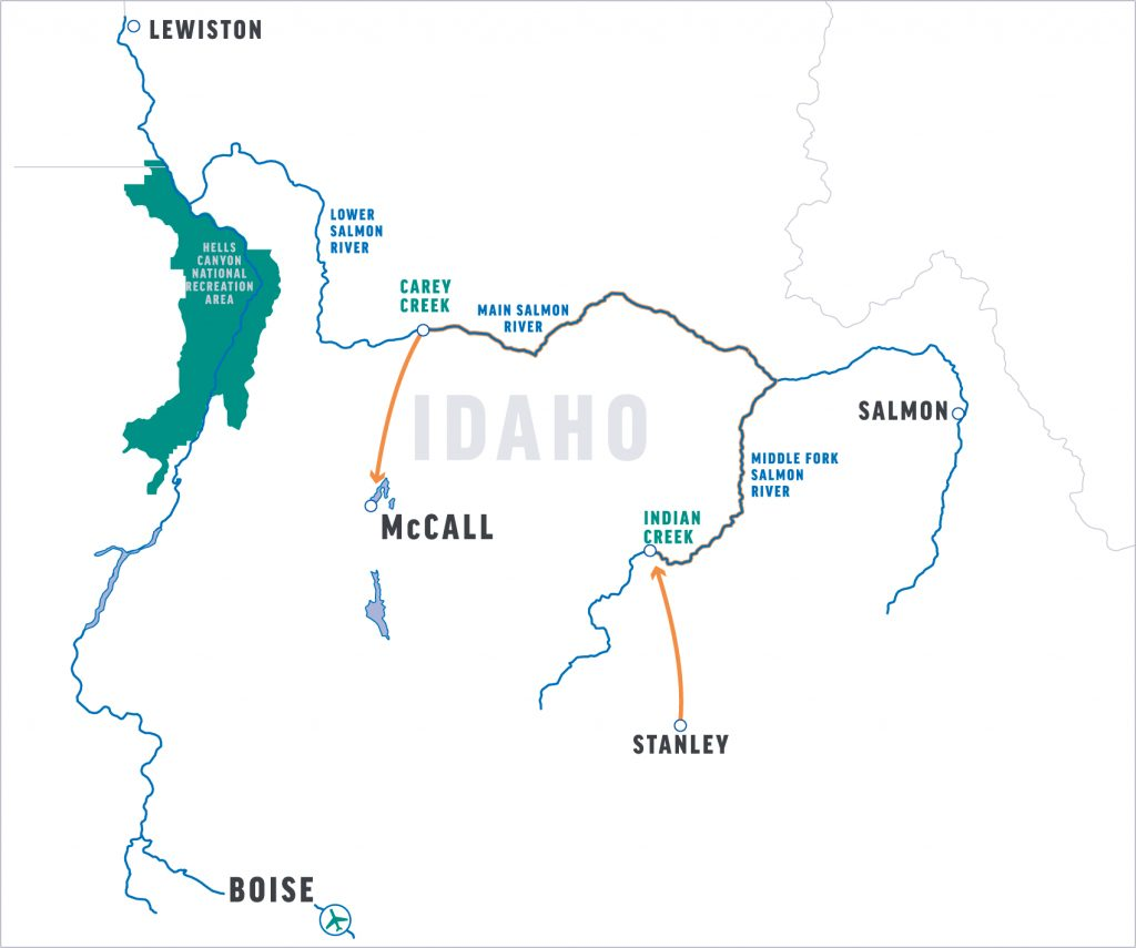 main salmon river and middle fork salmon river map
