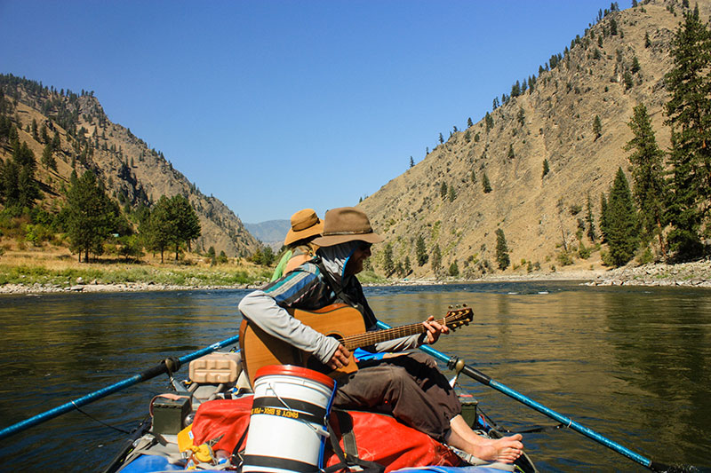 Playing Guitar on Idaho's Main Salmon River