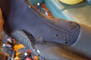 repaired rafting bootie with aquaseal